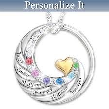 Personalized Pendant Family Circle Of Love Personalized Pendant Necklace Up To 6 Stones