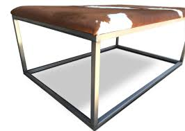 INDUSTRIAL CONTEMPORARY LIVING ROOM COWHIDE OTTOMAN KB - Modern furniture denver