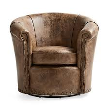 Swivel Chair Benedict 37 Leather Swivel Chair In Bronco Whiskey Arhaus Furniture