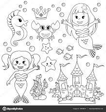 mermaid underwater castle and sea animals fish starfish