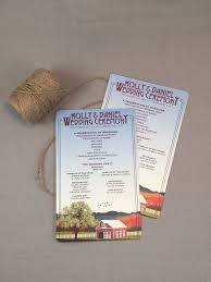 sided wedding programs fall appalachian mountains with barn 5 x 8 two sided wedding