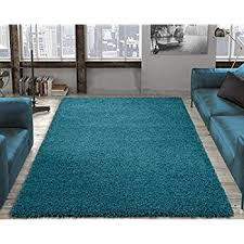 Teal Shag Area Rug Amazon Com Dense Pile Soft Teal Blue Shaggy Shag Area Rug 3 U00277
