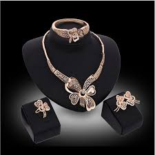necklace bracelet earring ring images Online for sale hollow butterfly jewelry sets white gemstone jpg