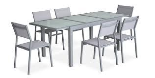 Table En Verre Avec Rallonges by Salon De Jardin 6 Chaises Table à Rallonge Extensible 150 210cm