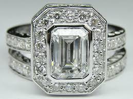 Engagement Rings And Wedding Band Sets by Engagement Ring Emerald Cut Diamond Bezel Set Double Halo Bridal