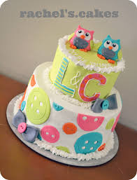 owl theme baby shower cake for twins boyandgirltwins my own