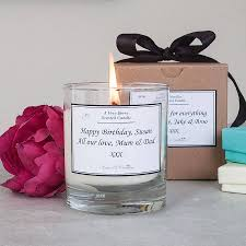personalised scented candle by kisses and creations