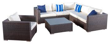 Outdoor Sofa Sectional Set Francisco Outdoor 7 Piece Wicker Seating Sectional Set With