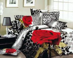 Red And White Comforter Sets Red Rose U0026 White Leopard 4pc Snow Leopard Skin Print 3d Comforter Set