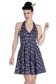 summer dress marin navy blue nautical print mini summer dress by hell