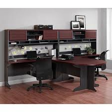 altra benjamin u shaped desk with hutch cherry and gray
