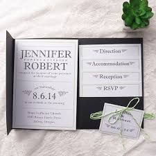 pocket wedding invitations modern simple green wedding black pocket wedding invitation kits