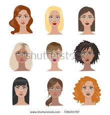 different hair hairstyles set all types hair stock vector 726201787