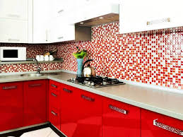 elegan small kitchen color design ideas red white picture of small