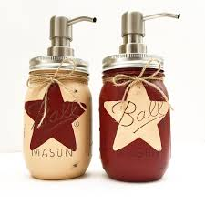 Etsy Vintage Home Decor by Set Of 2 Rustic Star Mason Jar Soap Dispensers Rustic Star