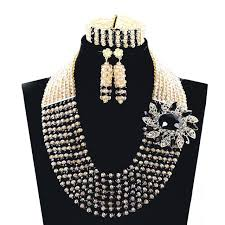 gold beaded necklace set images Latest gold black women nigerian wedding beads jewelry set crystal jpg