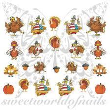 thanksgiving decals nails turkey acorn nail water decals