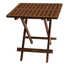 Folding Patio Furniture Dining Sets - eucalyptus wood folding side table for outdoor use