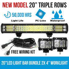 led light bar bundle 20 led light bar philips 3 rows bundle 2x 18w 4 inch cree worklight