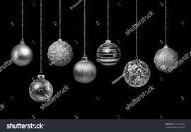 seven silver decoration balls collection stock photo