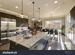 Modern Gray Kitchen Features Dark Gray Stock Photo 557517130