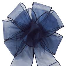 navy blue wired ribbon bows wired sheer chiffon bows navy blue 8 inch