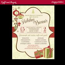 holiday craft fair christmas bazaar invitation poster