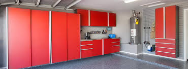 Red Powder Room Powder Coated Garage Cabinets Tech Red Granite