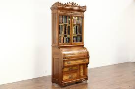 victorian eastlake 1885 antique cylinder roll top secretary desk