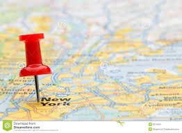 New York On Us Map by Map Of New York In The Usa With Pushpin Stock Photo Image 68844895