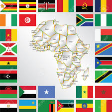 Flags Of African Countries Illustration Of Africa Map And Flags Royalty Free Cliparts