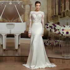 sheer lace long sleeve satin mermaid wedding dresses backless