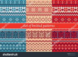 set knitted patterns stock vector 630416414