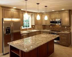 brown kitchen cabinets wooden varnished island beautiful glass