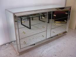 Glass Mirrored Bedroom Set Furniture Mirrored Glass Dresser At 1stdibs