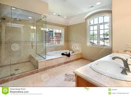 master bath with glass shower royalty free stock photo image