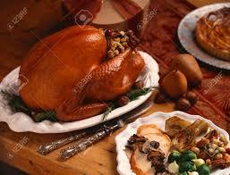 thanksgiving stuffed stuffed roast turkey sliced turkey dinner plate stock photo