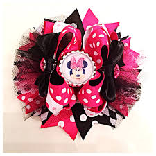 minnie mouse hair bow hot pink and black minnie mouse hair bow by jaynisbowboutique