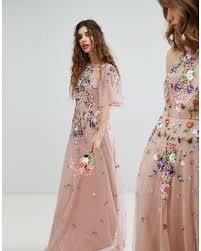 maxi dress for wedding new savings on asos wedding floral embroidered dobby mesh flutter