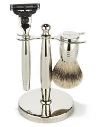 Old Fashioned Shave Kit Men U0027s Shaving Set Nickel Brush U0026 Razor Set Men U0027s Grooming