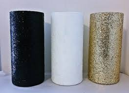3 black gold and white vases centerpieces bridal shower