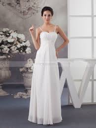 spaghetti strapped simple chiffon wedding dress with front draping