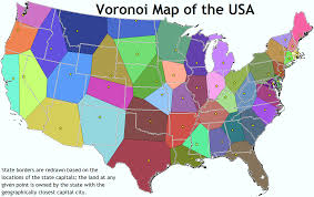 Map Of States With Capitals by Voronoi Map Of National Parks The Usa Divided Into Regions Based