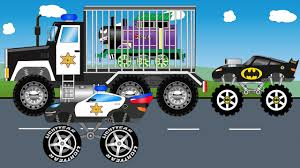 police monster truck vs jocker train monster trucks for children