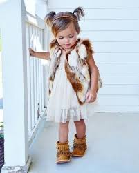 girls u0027 white fur vest white lace dress tan fringe suede boots
