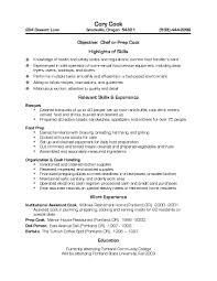 Sle Chef Resume cooks resume pertamini co