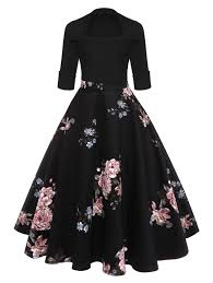 vintage dresses floral midi vintage flare dress in black xl sammydress