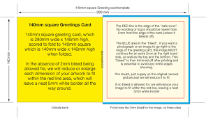 140mm square greeting card template