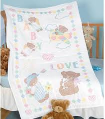 jack dempsey needle art baby love bears crib quilt top stamped