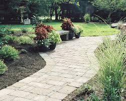 garden simple garden idea alongside natural stone walkways